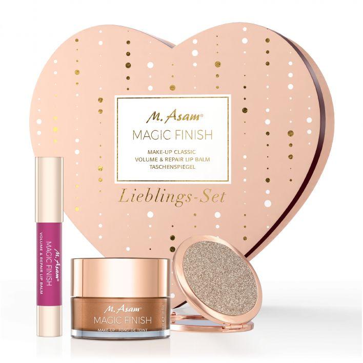 MAGIC FINISH Geschenkbox mit Make-up Mousse, Volume Lip Balm Romantic Rose & Taschenspiegel