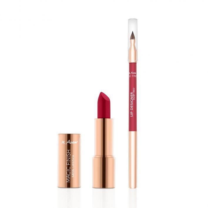MAGIC FINISH Lip Designer & Satin Lipstick Set Ruby Red