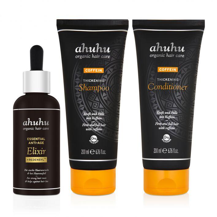 ahuhu COFFEIN Thickening Shampoo, Conditioner & ESSENTIAL ANTI-AGE Elixir + Redensyl