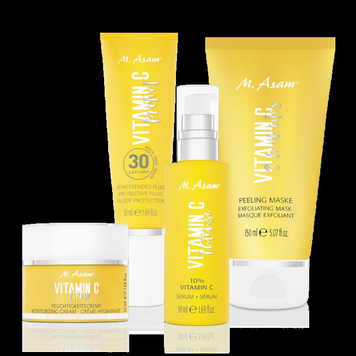 VITAMIN C 10 % Intense Serum, Glow Feuchtigkeitscreme, schützendes Fluid LSF 30 & 3-Minutes Peeling Maske