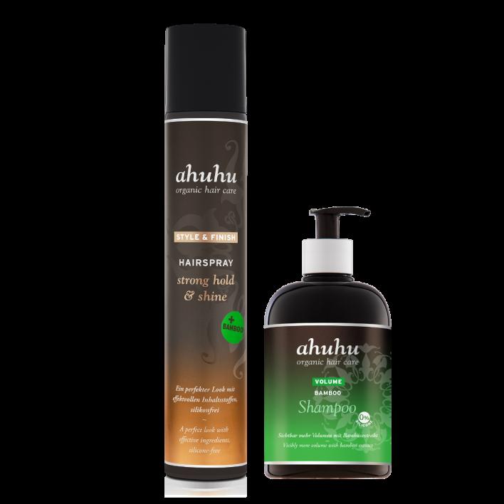 VOLUME BAMBOO Shampoo XXL & STYLE & FINISH Hairspray strong hold & shine + Bamboo XXL